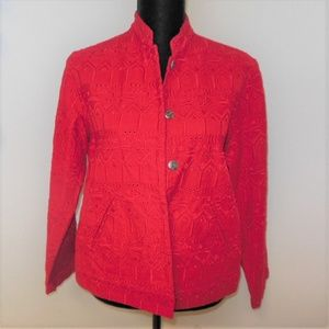 Chico's Design Red Jacket Size 1